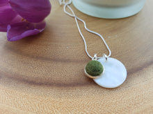 Mother of Pearl Dot Necklace - Dark Olive
