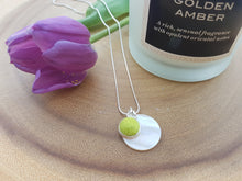 Mother of Pearl Dot Necklace - Yellow Green
