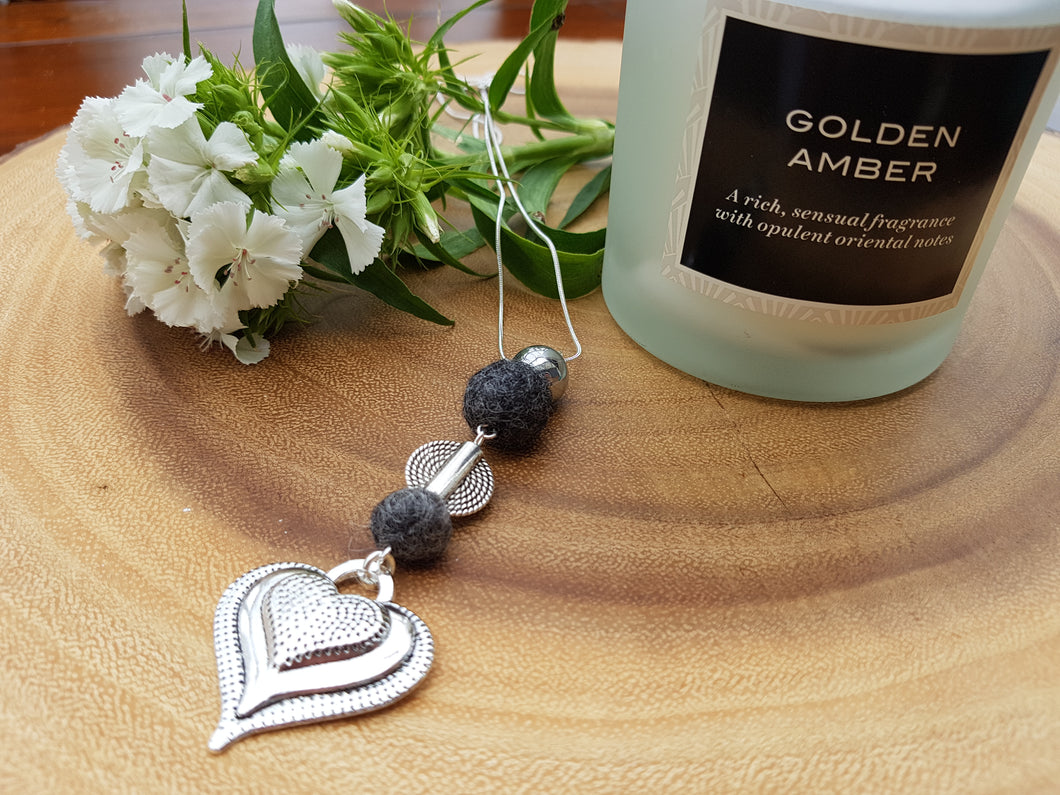 Heart Drop pendant - Dark Grey Mix