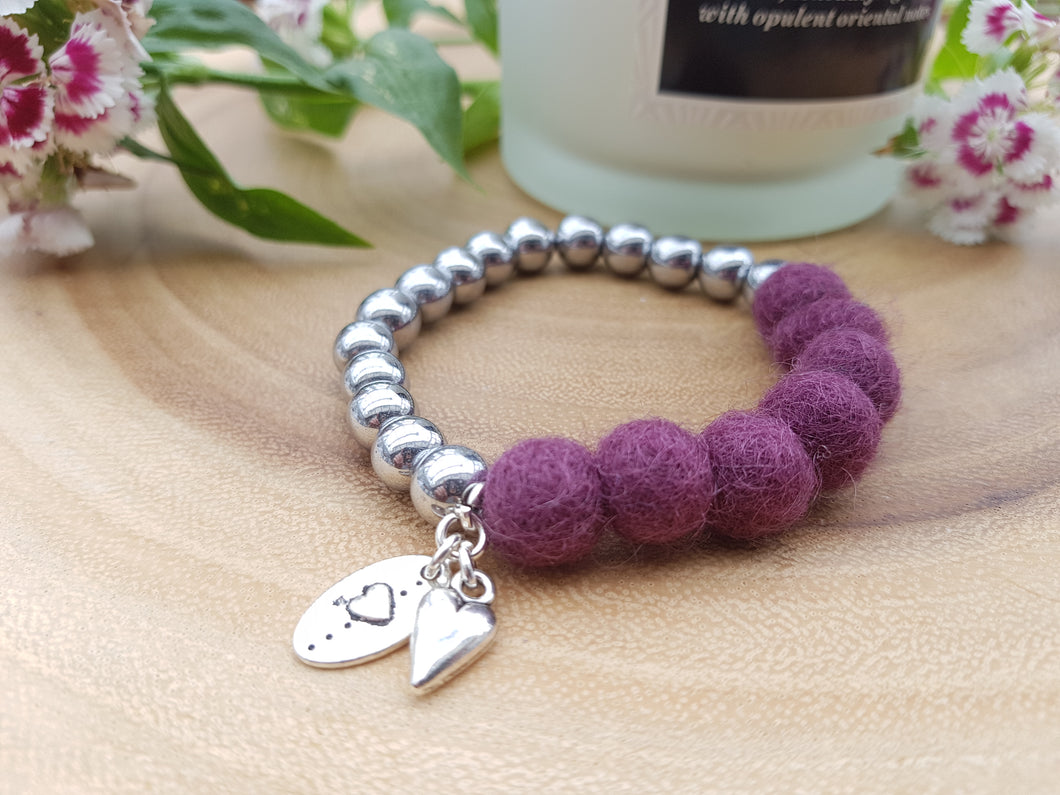 Sleek puff heart Bracelet - Plum