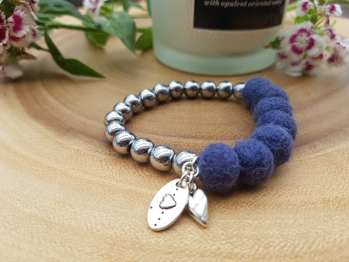 Sleek puff heart Bracelet - Smoke Blue