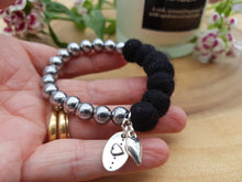 Sleek puff heart Bracelet - Black