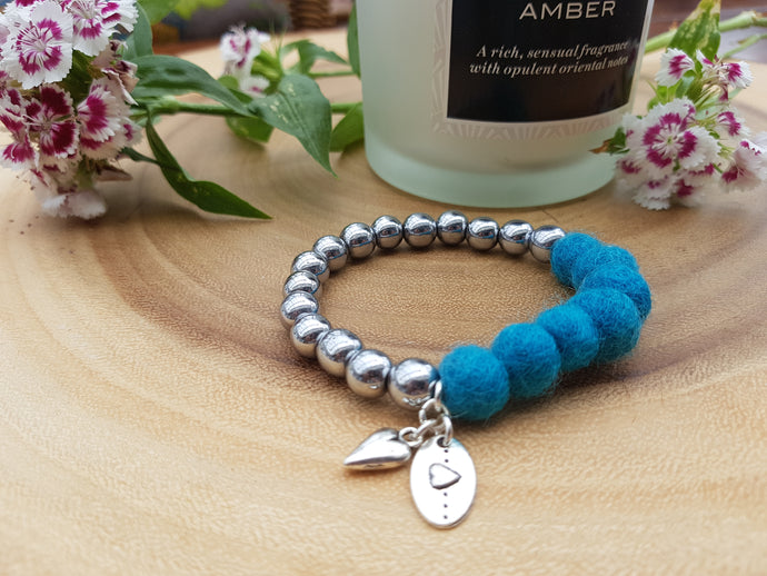 Sleek puff heart Bracelet - Kingfisher