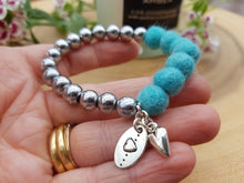 Sleek puff heart Bracelet - Turquoise