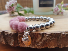 Sleek puff heart Bracelet - Coral Pink