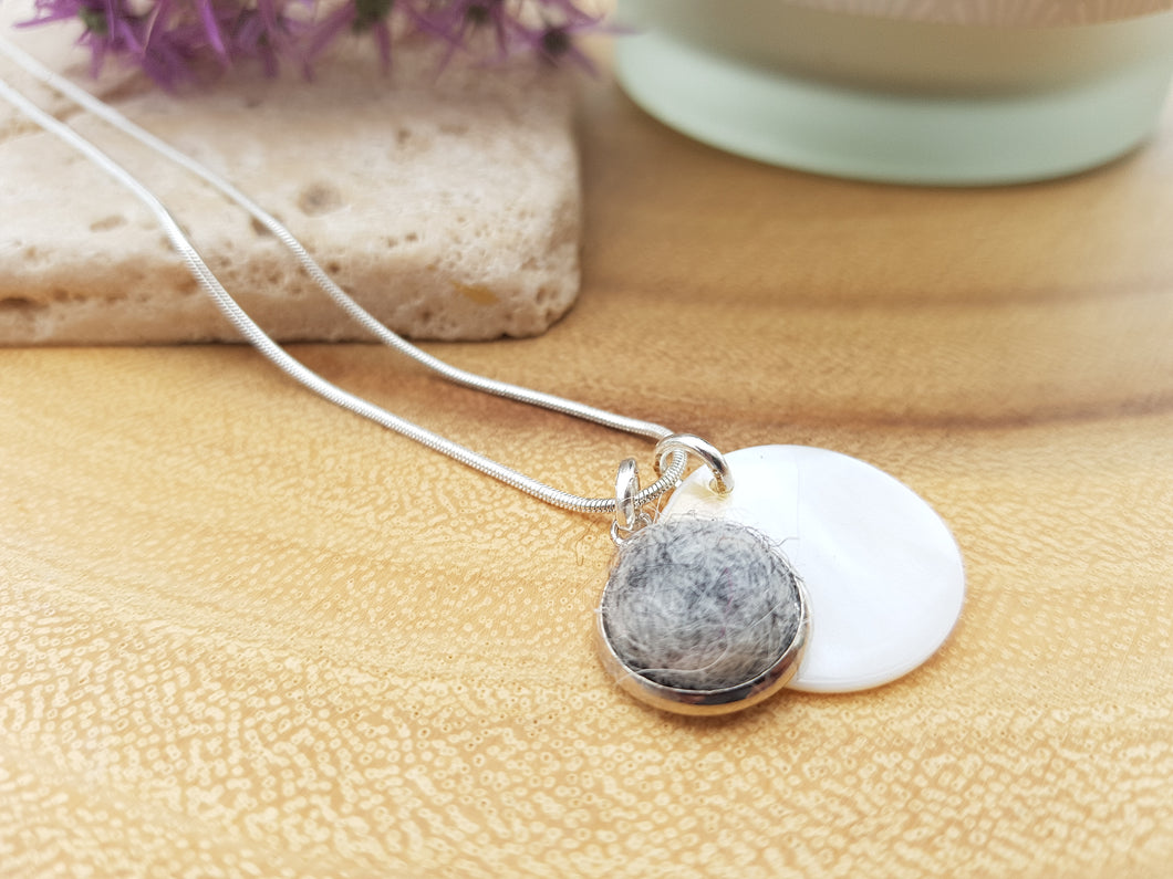 Mother of Pearl Dot Necklace - Light Grey Marl