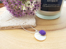 Mother of Pearl Dot Necklace - Purple