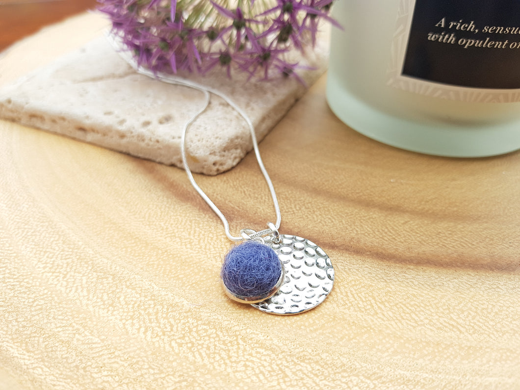 Hammer Dot Necklace - Smoke Blue