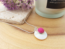Mother of Pearl Dot Necklace - Ruby Pink
