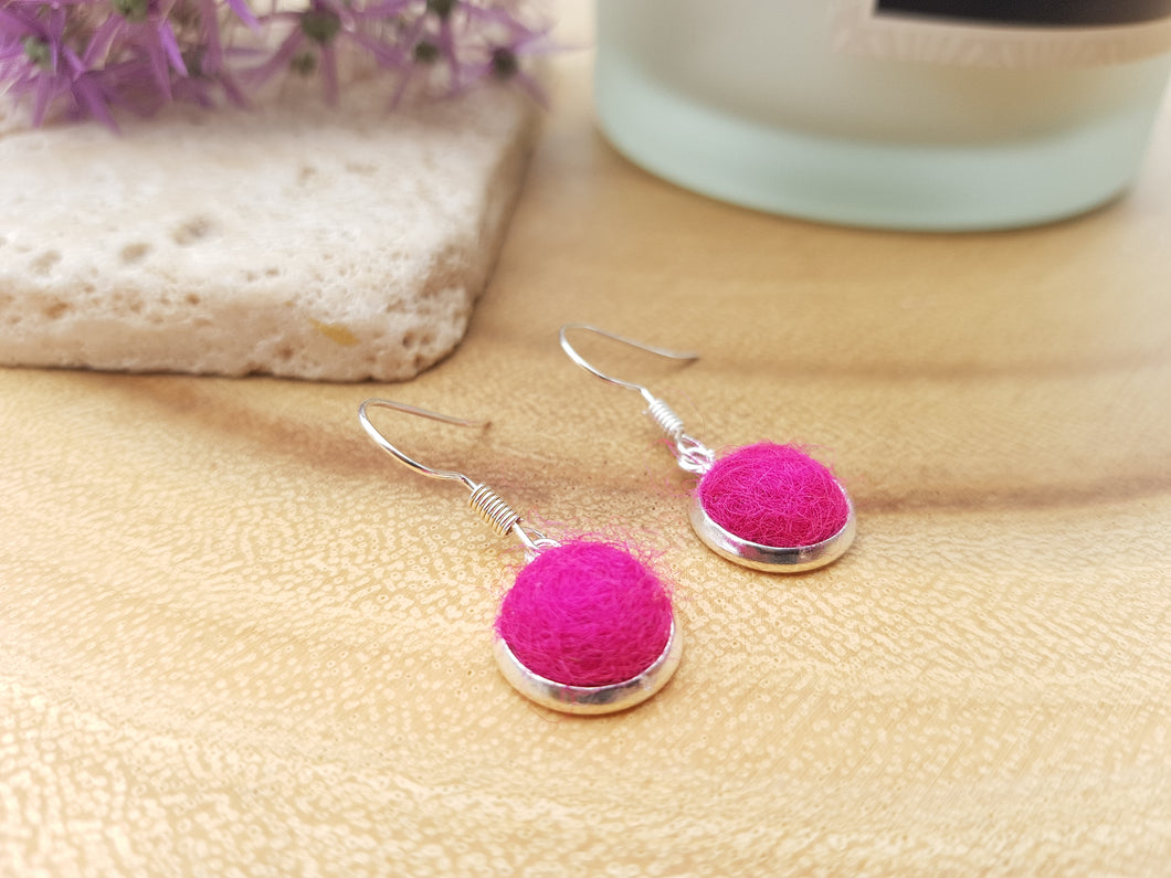 Dot Earrings - Hot Pink