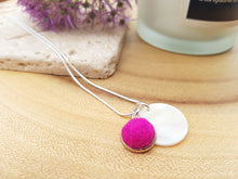 Mother of Pearl Dot Necklace - Rose Pink / Hot Pink