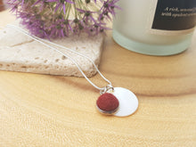 Mother of Pearl Dot Necklace - Burgundy