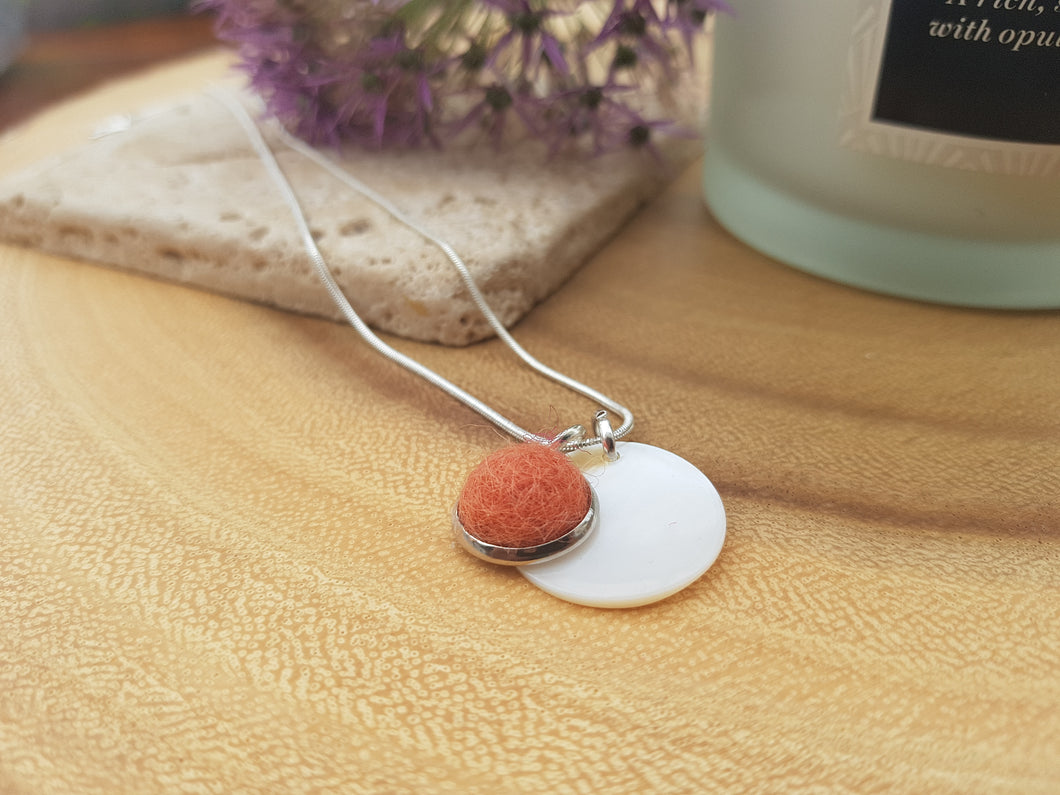 Mother of Pearl Dot Necklace - Burnt Orange