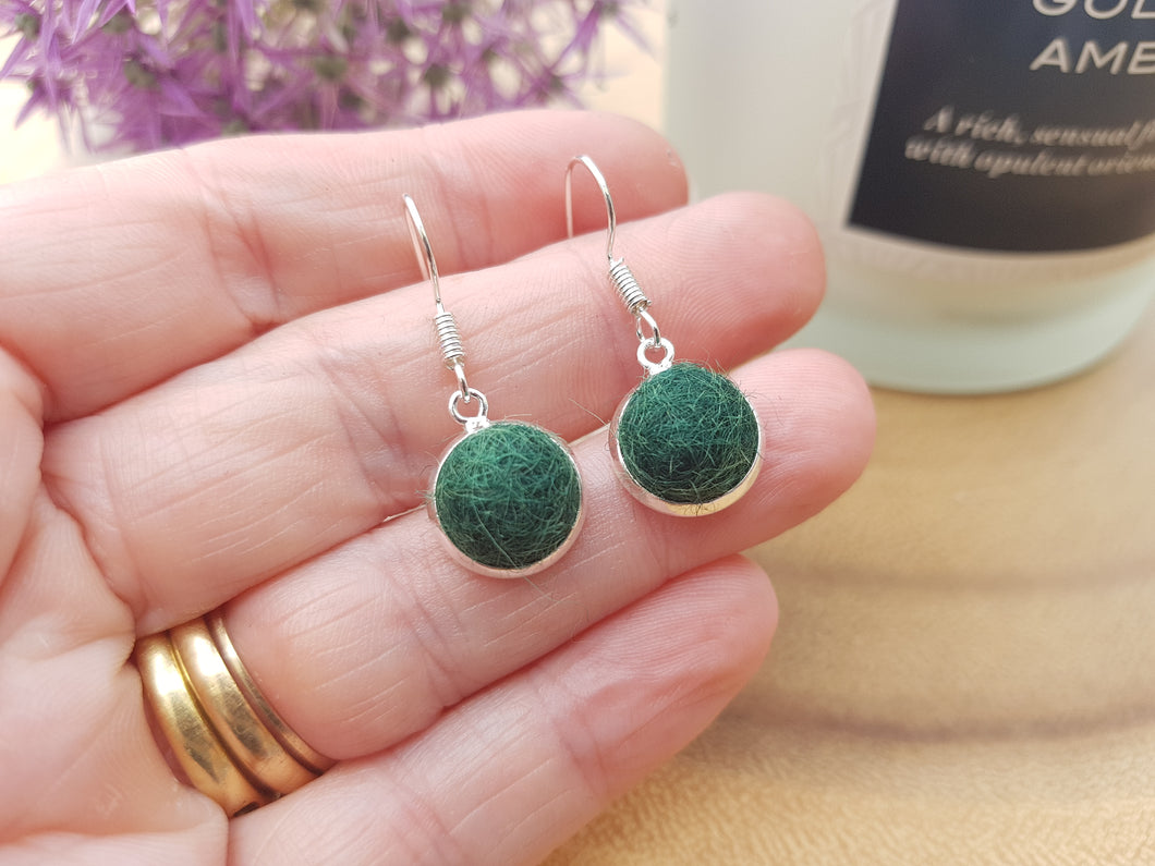 Dot Earrings - Dark Green