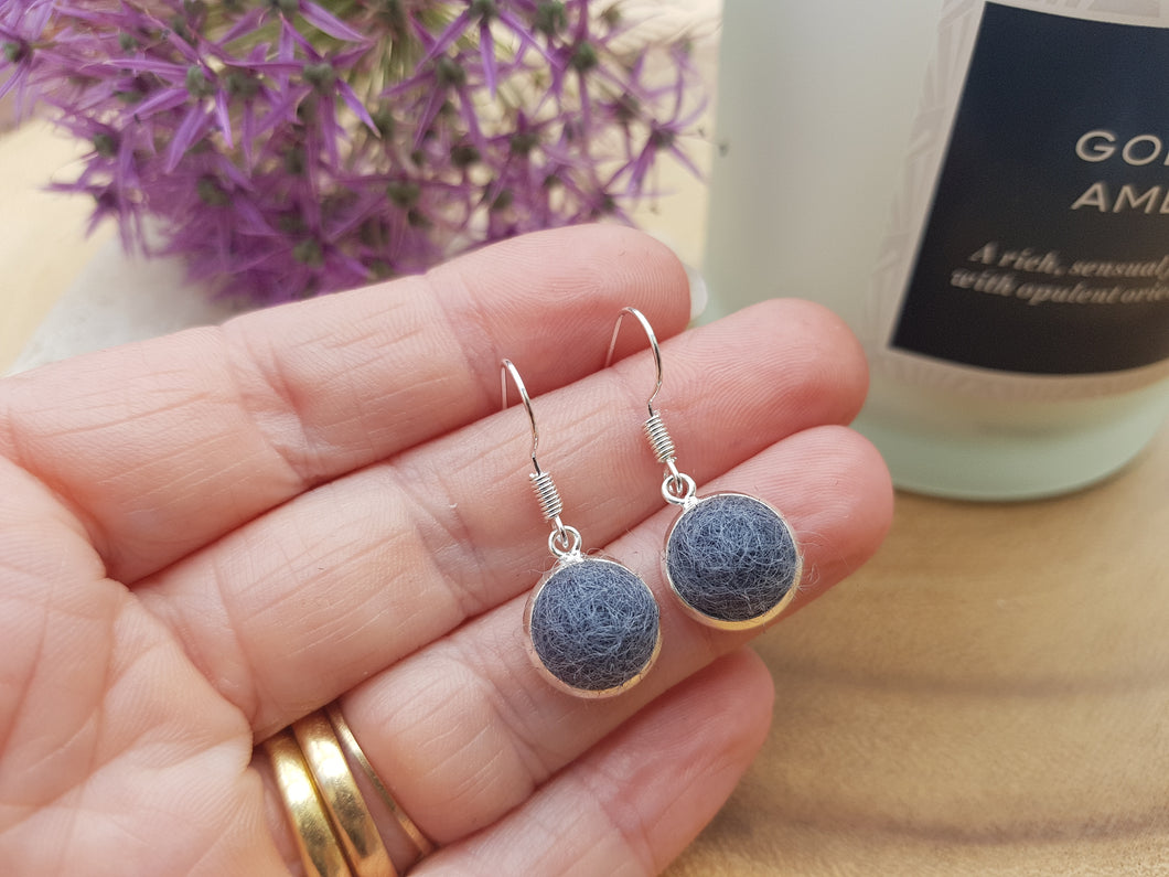 Dot Earrings - Charcoal Grey
