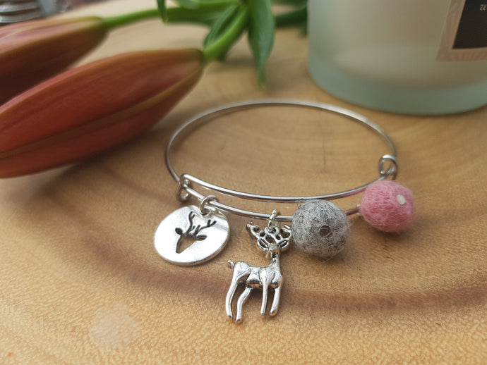Sleek Reindeer Bangle - Coral Pink
