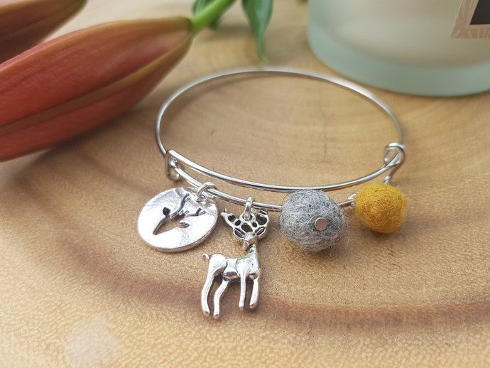Sleek Reindeer Bangle - Mustard