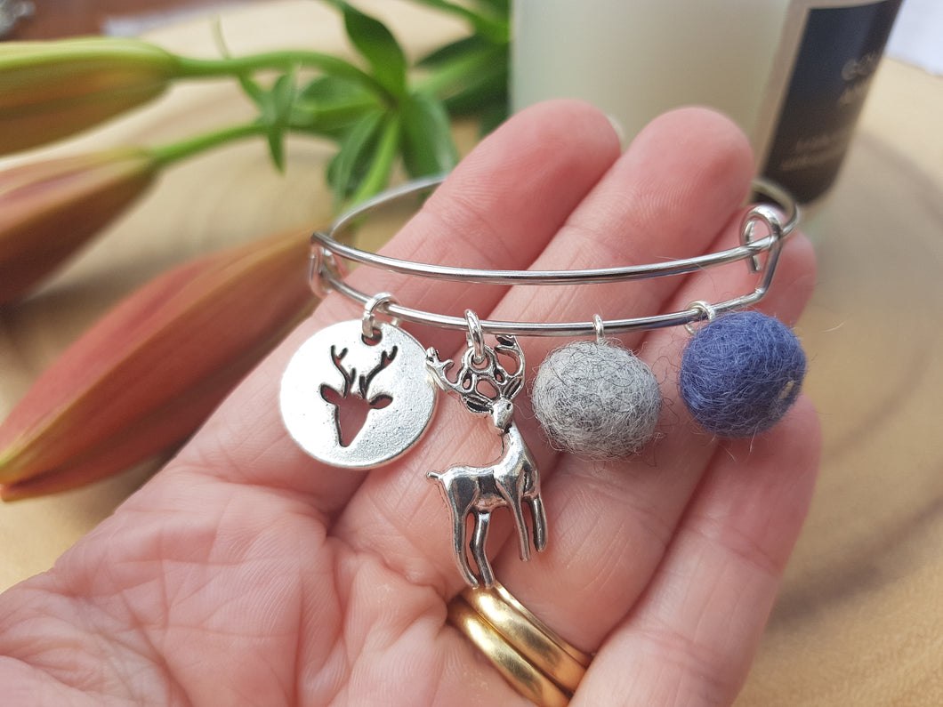 Sleek Reindeer Bangle - Blue