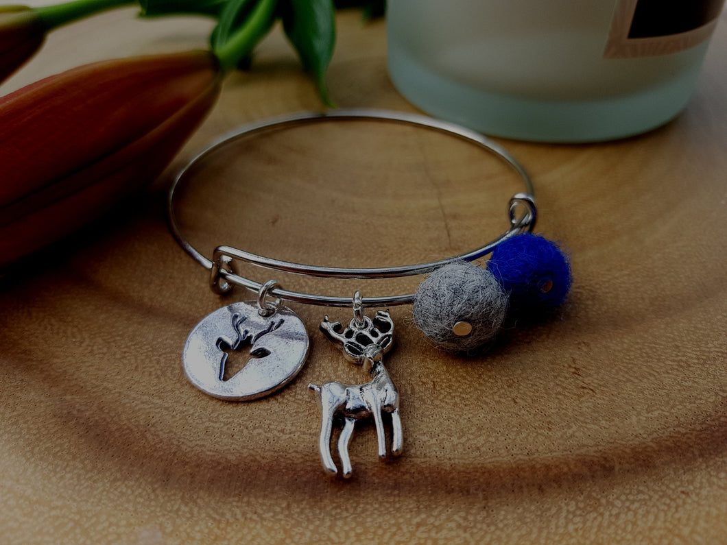 Sleek Reindeer Bangle - Royal Blue