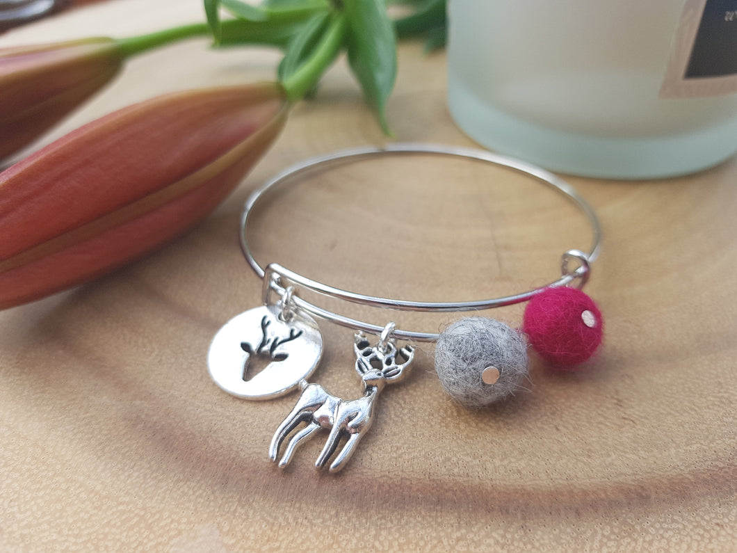 Sleek Reindeer Bangle - Dark Pink