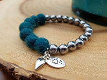 Sleek puff heart Bracelet - Teal