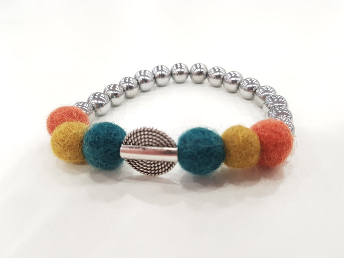 Mariko Stretch Bracelet - Orange, Teal, Mustard