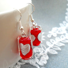 Red Glass, silver foiled heart beaded Earrings