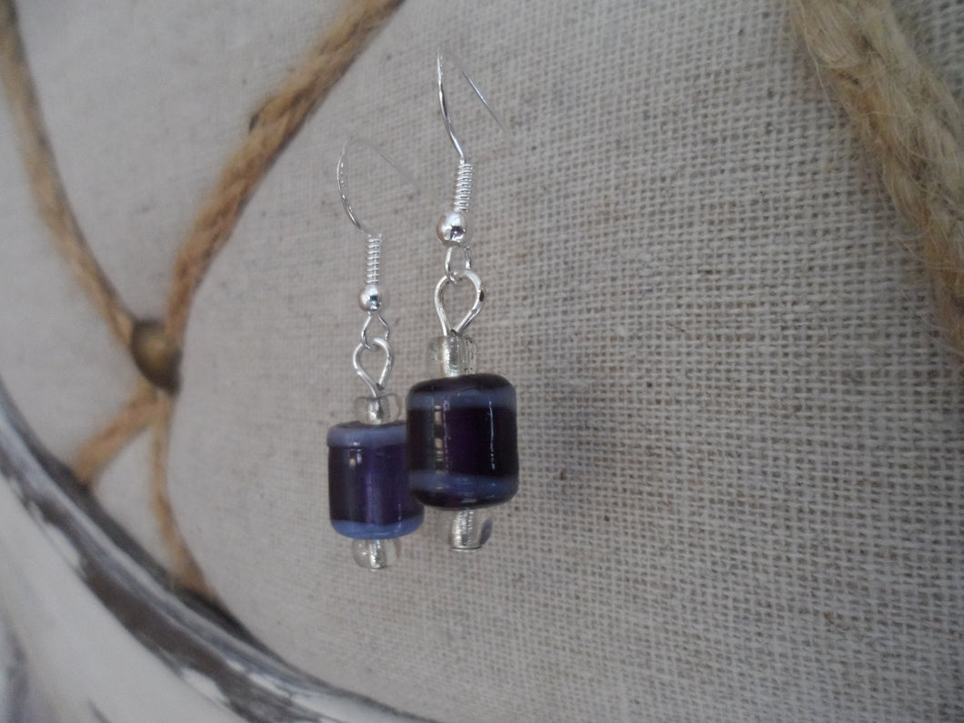 Indian Glass purple beaded Earrings