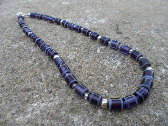 Aubergine Purple Indian Glass beaded Necklace
