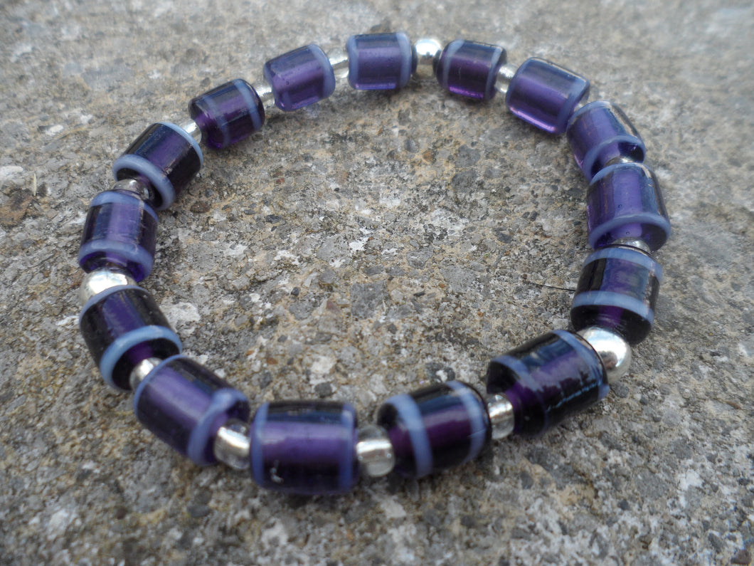 Aubergine Purple Indian Glass beaded Bracelet