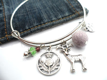 Scottish Stag Bangle (green or purple)