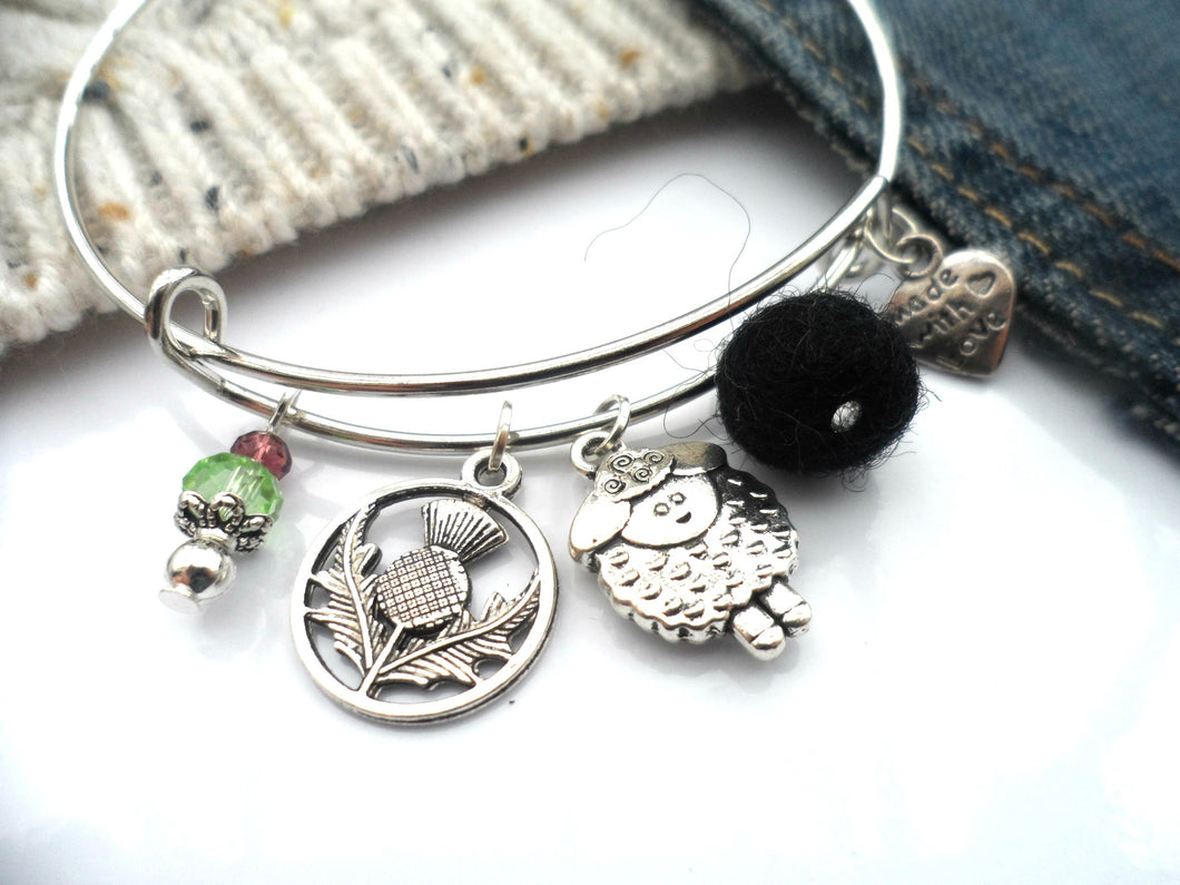 Scottish Sheep Bangle available, in black or white