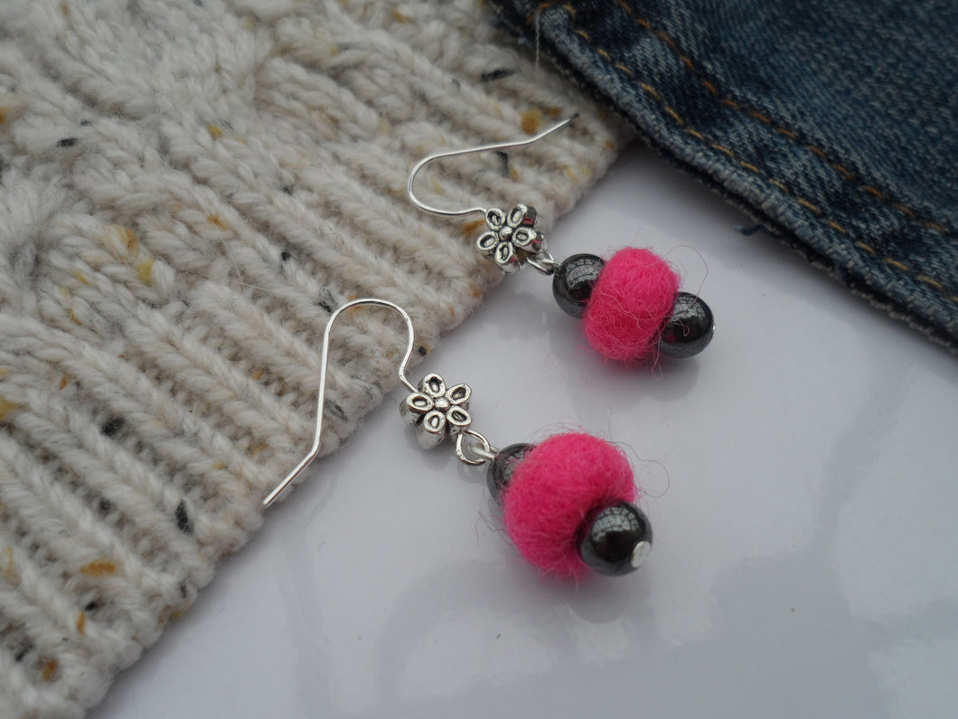 Wool and Hematite earrings (choice of colours)