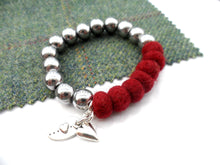 Sleek puff heart Bracelet - Burgundy