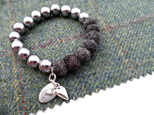 Sleek puff heart Bracelet - Dark Grey Marl
