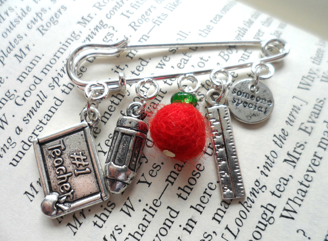 Someone special, #1teacher, apple and pencil brooch