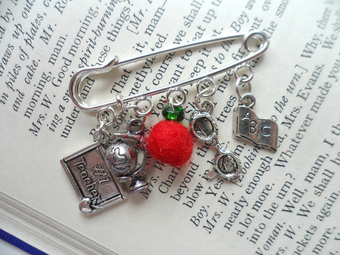 Teacher gift brooch, apple, glasses, globe