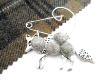 Mr Fox - Mr wolf Brooch , Light grey Mix