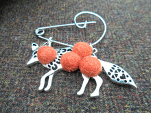 Mr Fox - Mr wolf Brooch , Burnt Orange
