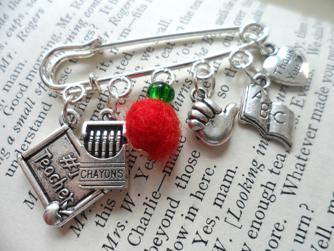 Teacher gift brooch, Apple, crayons, thank you
