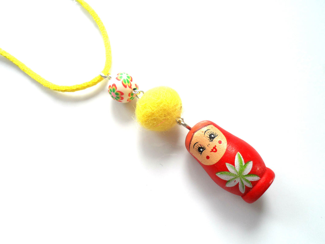 Kitsch Russian Babushka doll pendant , Yellow, Red