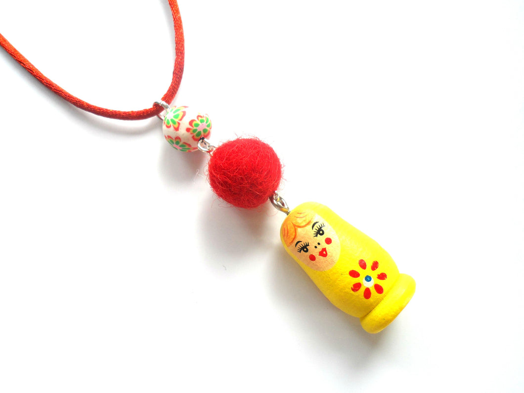 Kitsch Russian Babushka doll pendant , Red, Yellow
