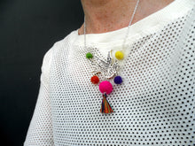 Swallow bird Necklace bright multi coloured