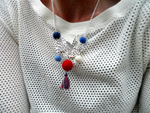 Swallow bird Necklace red, white, and blue