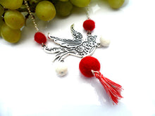 Swallow bird Necklace red, white, and white colour way