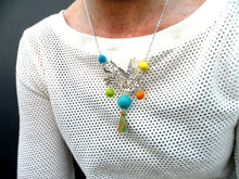 Swallow bird Necklace tropical multi coloured