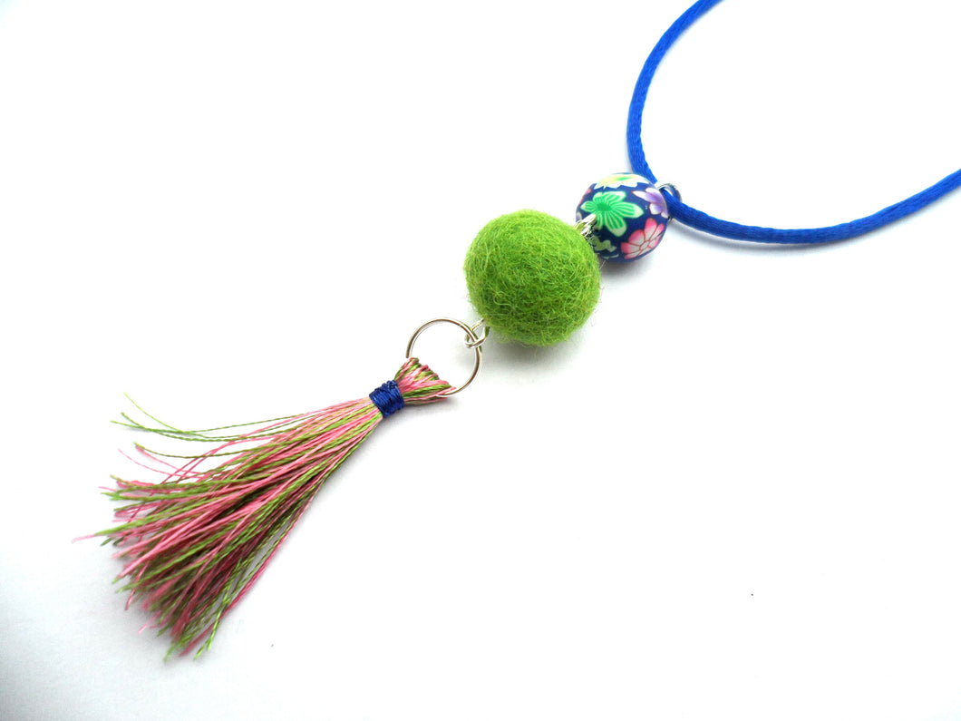 Handmade Tassel pendant, Green, Royal blue Pink