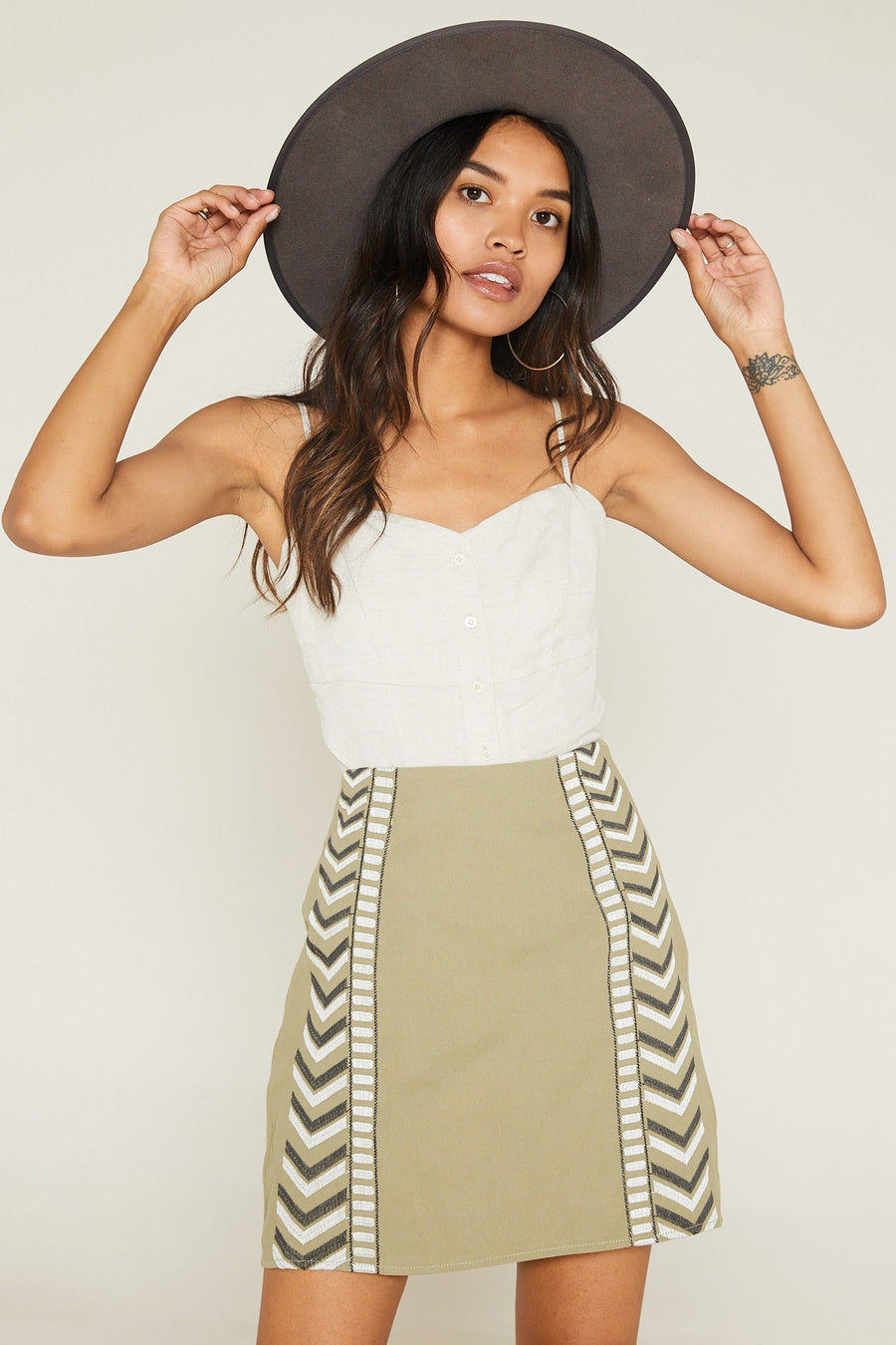 Desert Fever Embroidered Mini Skirt