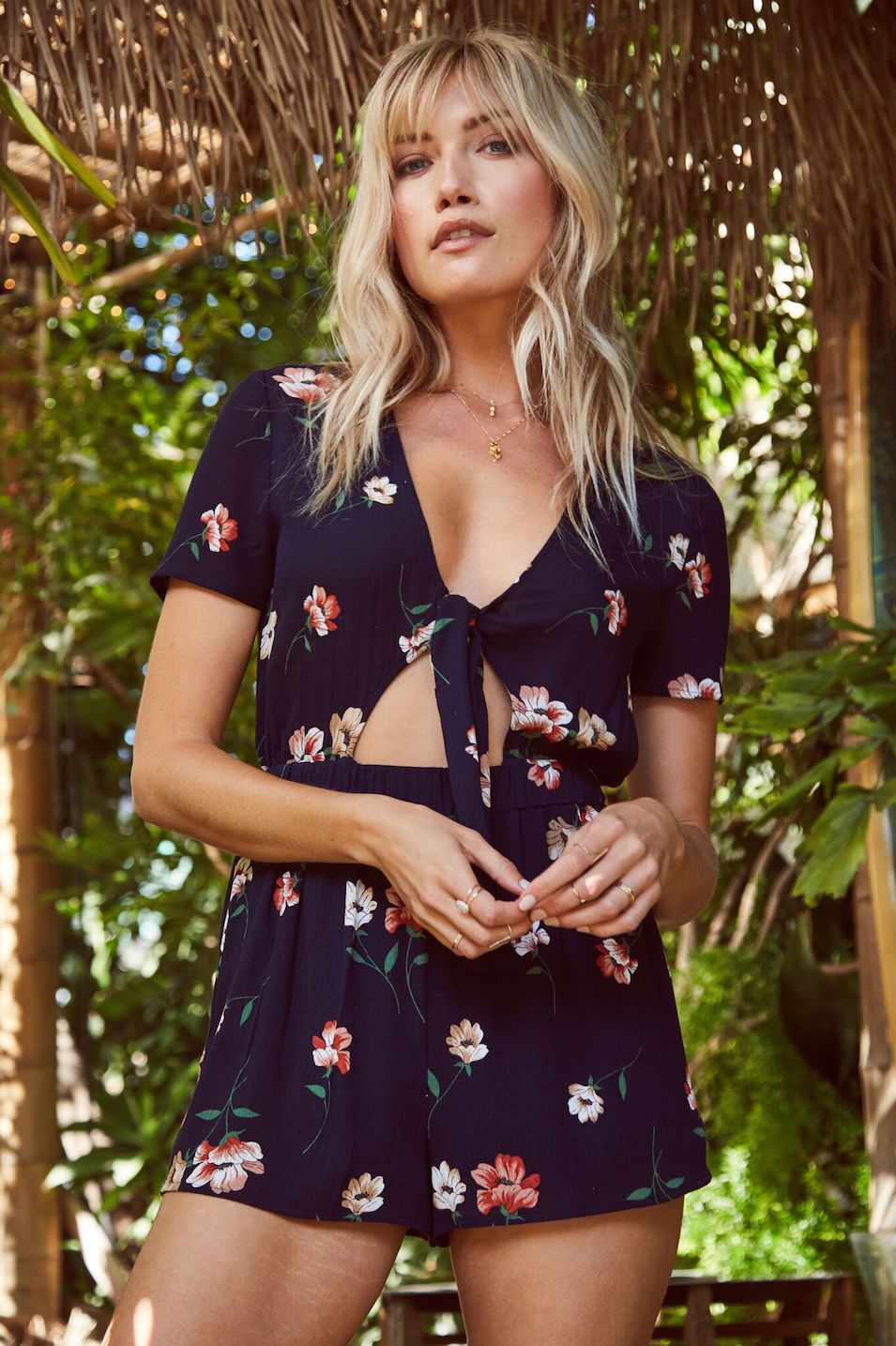 Bad Habit Tie Front Romper