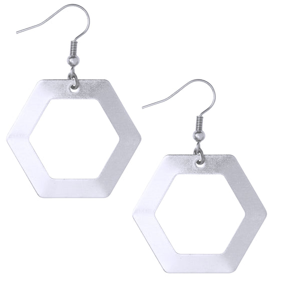 Jane Minimalist Geometric Hexagon Silver Earrings